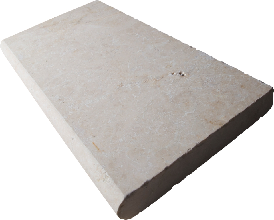 Aegean Pearl 12x24 Tumbled One Long Side Bullnose Pool Coping