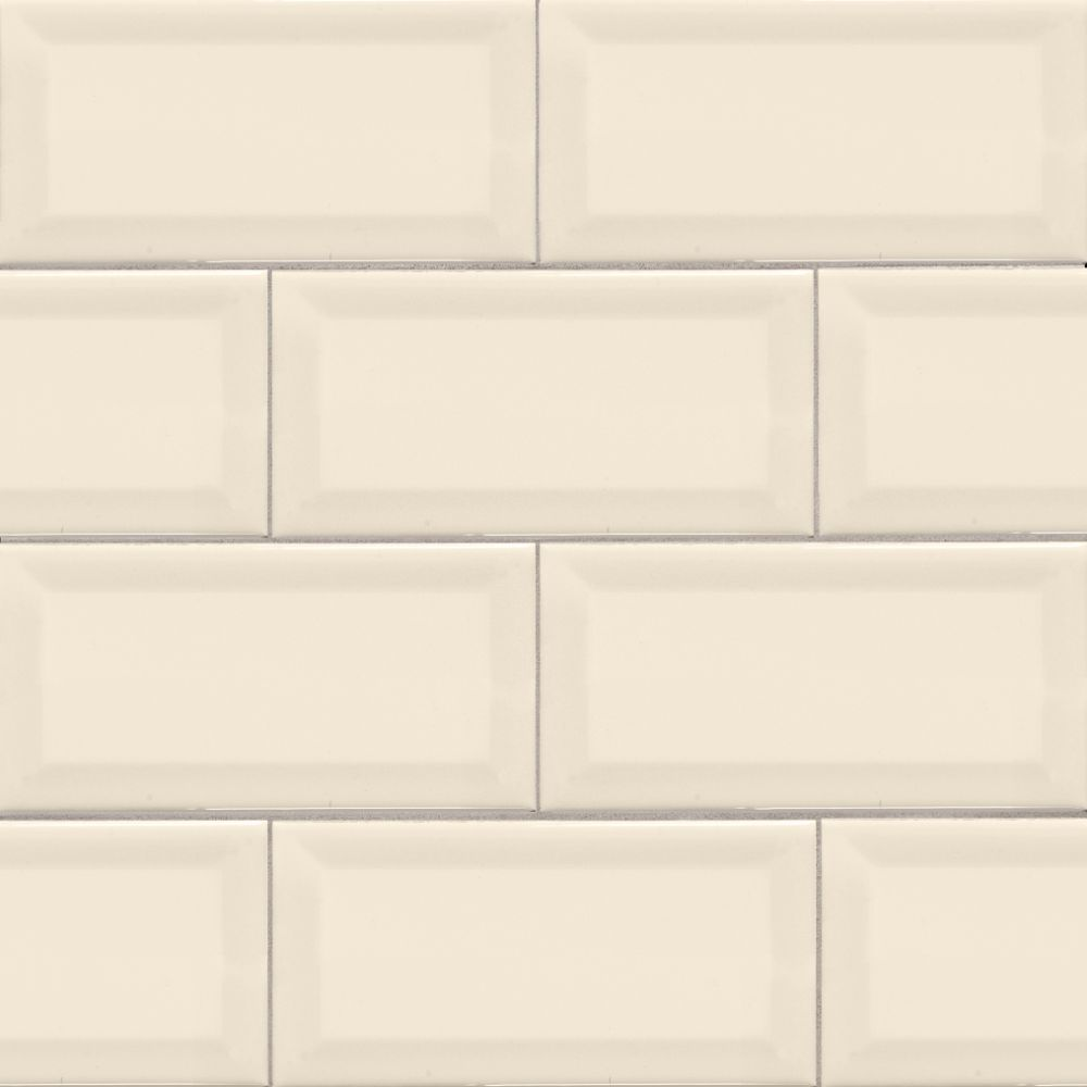 Almond 3X6 Beveled Glossy Subway Tile