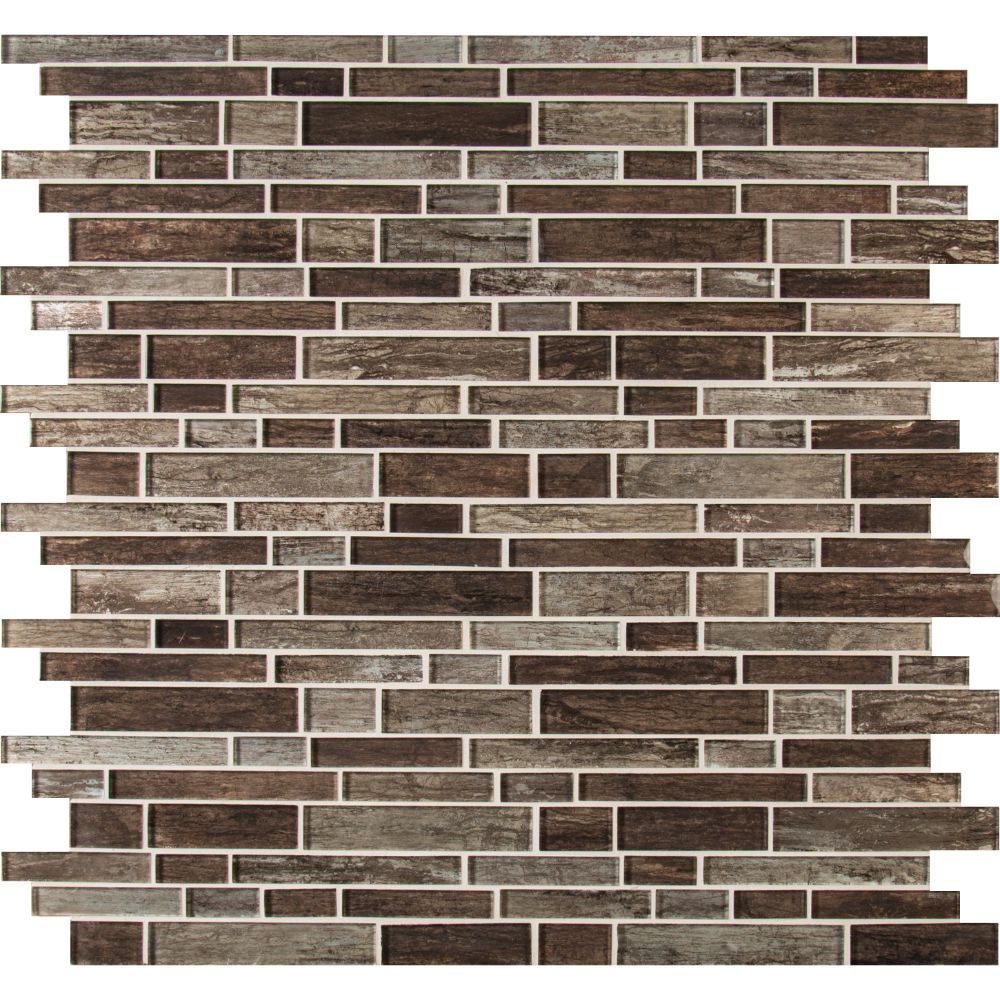 Antico Pewter Interlocking Pattern Glass Mosaic