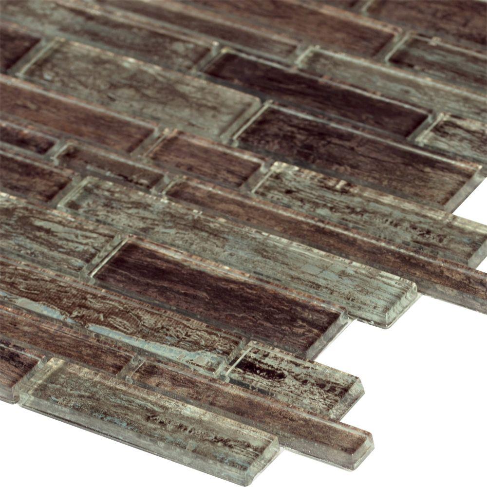 Antico Pewter Interlocking Pattern Glass Mosaic