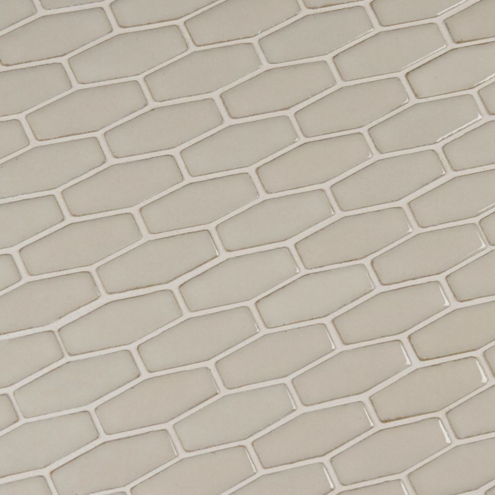 Antique White 12X12 Glossy Elongated Hexagon Mosaic