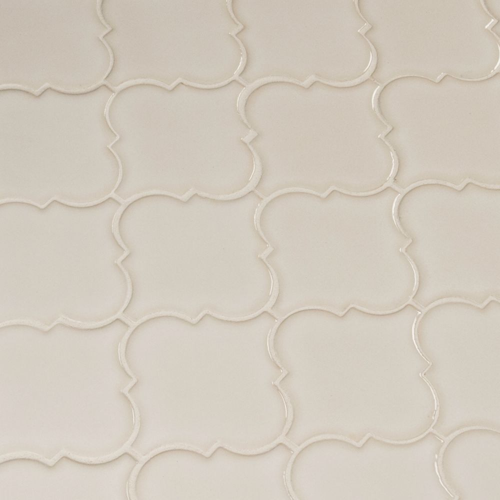 Antique White Glossy Arabesque Mosaic