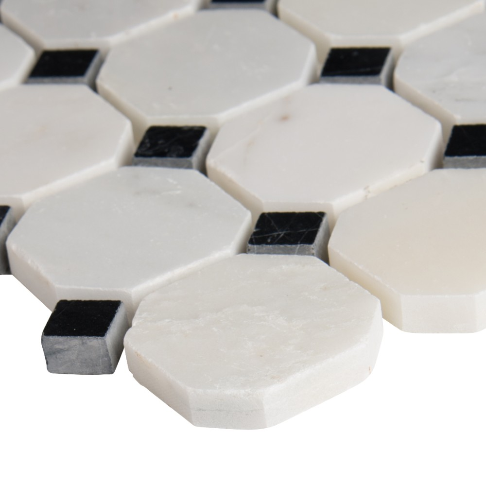 Arabescato Carrara Octagon 2X2 Polished Mosaic Tile