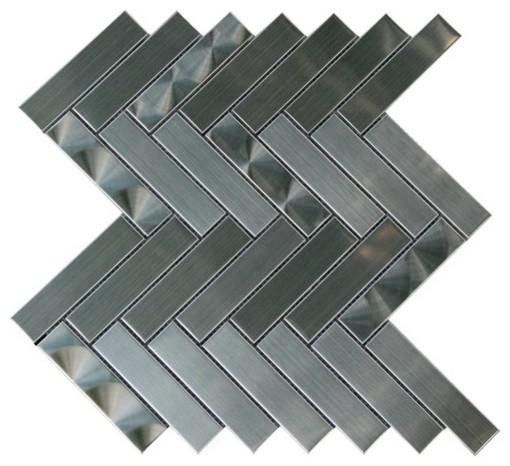 Arrowhead 1X4 3D Brushed Herringbone Mosaic