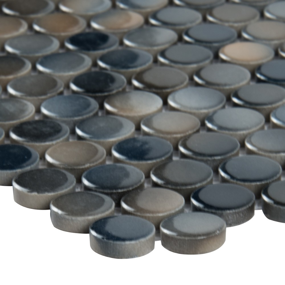 Azul Penny Round Glossy Porcelain Mosaic
