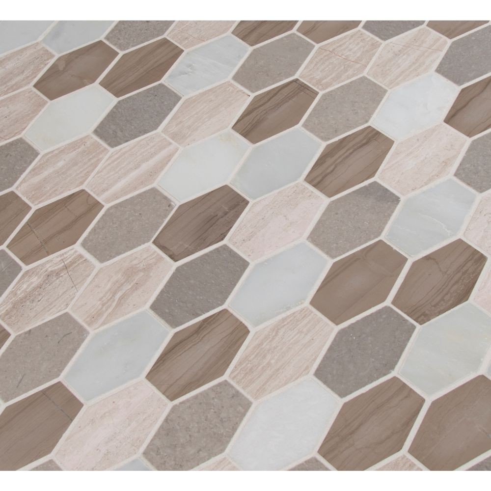 Bellagio Blend Elongated Hexagon Honed Mosaic