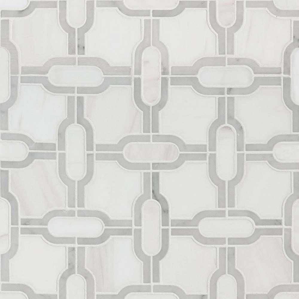 Bianco Gridwork Polished Pattern Marble Tile