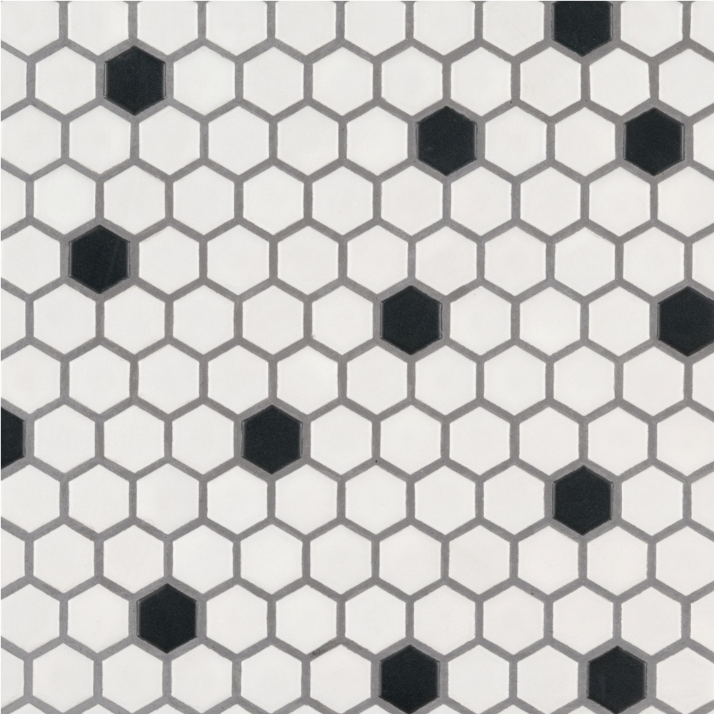 Black And White 1X1 Hexagon Matte Porcelain Tile