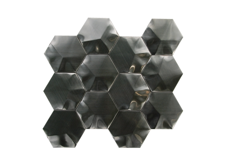 "Stainless Steel 3D black Interlocking 3"" Hexagon Mosaic"