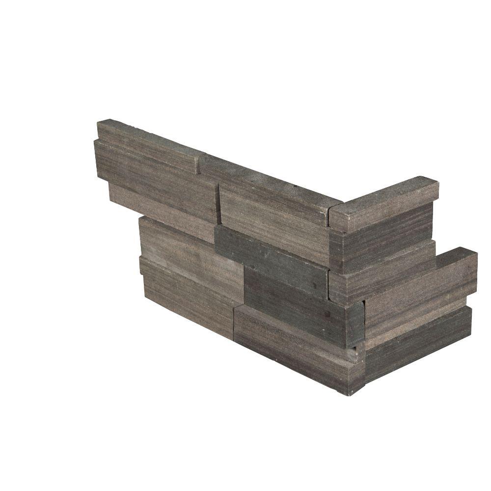 Brown Wave 6x12x6 3D Honed Corner Ledger Panel