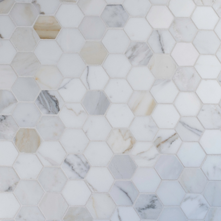 Calacata Gold 2x2 Hexagon Polished Marble Mosaic