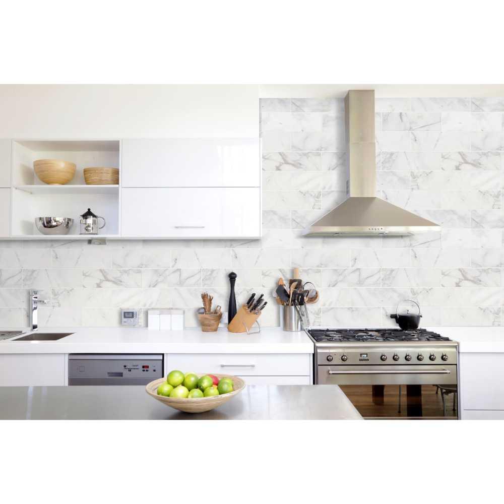 Calacatta Cressa 4X12 White Honed Subway Marble Tile