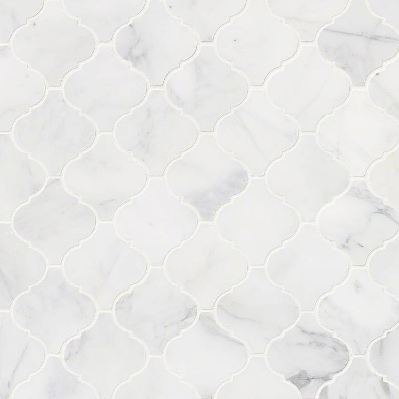 Calacatta Cressa Arabesque Pattern Honed Mosaic