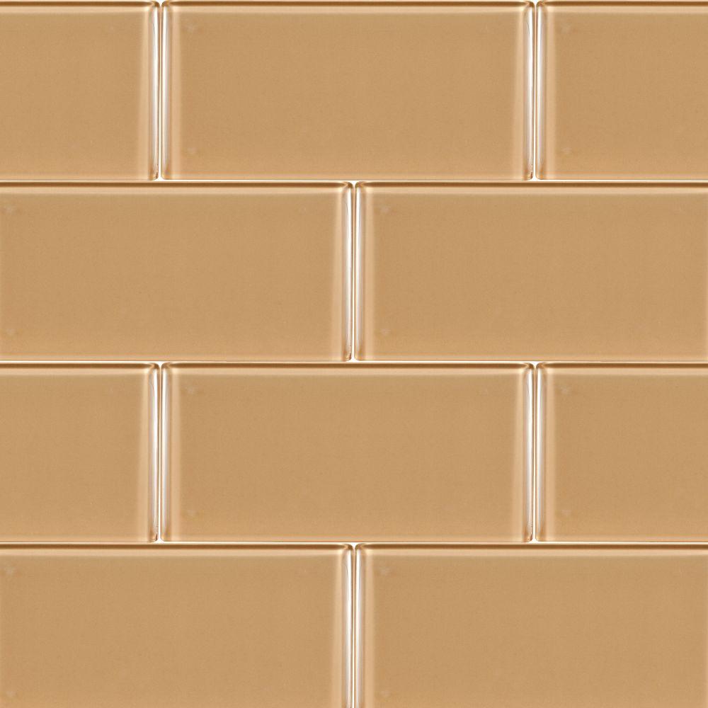 Caramel 3x6x8MM Glass Subway Tile