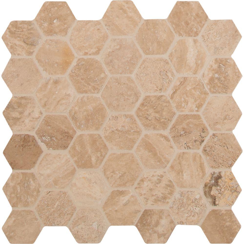 Carmello Hexagon 2x2 Honed and Filled Travertine Mosaic