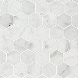 Carrara White 2X2 Hexagon Honed Mosaic