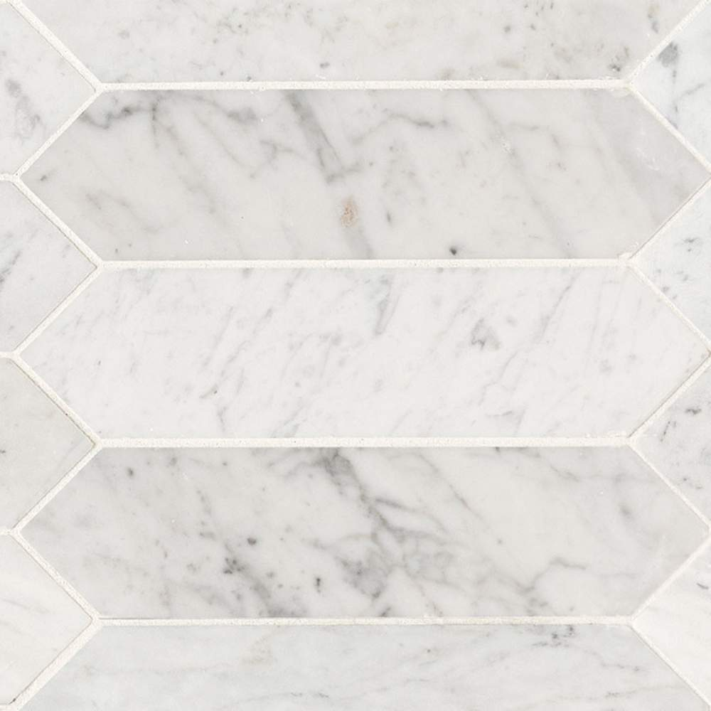 Carrara White 3x12 Honed Picket Shape Tile