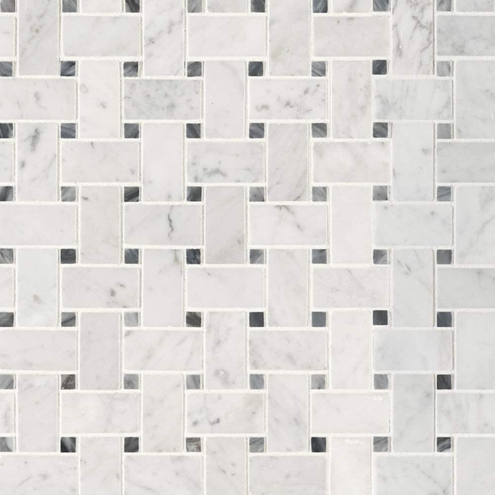 Carrara White Basketweave Pattern Honed Mosaic
