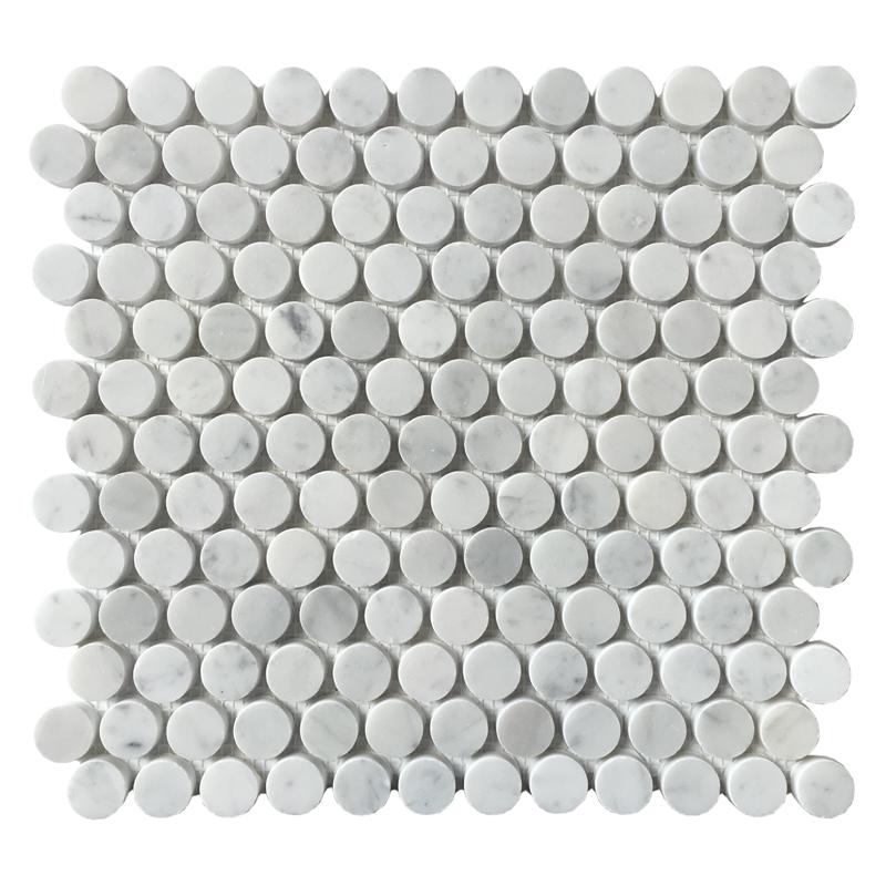 Carrara White Honeycomb Penny Round Mosaic