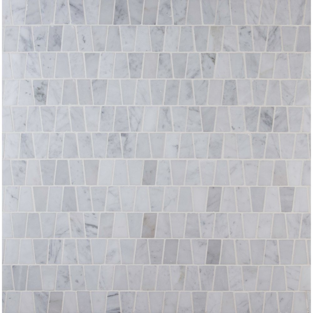 Carrara White Trapezoid Pattern Polished Mosaic