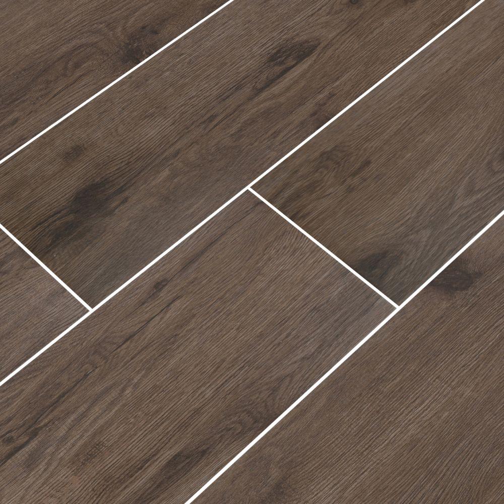 Celeste Nutmeg 8X40 Black Matte Wood Look Ceramic Tile