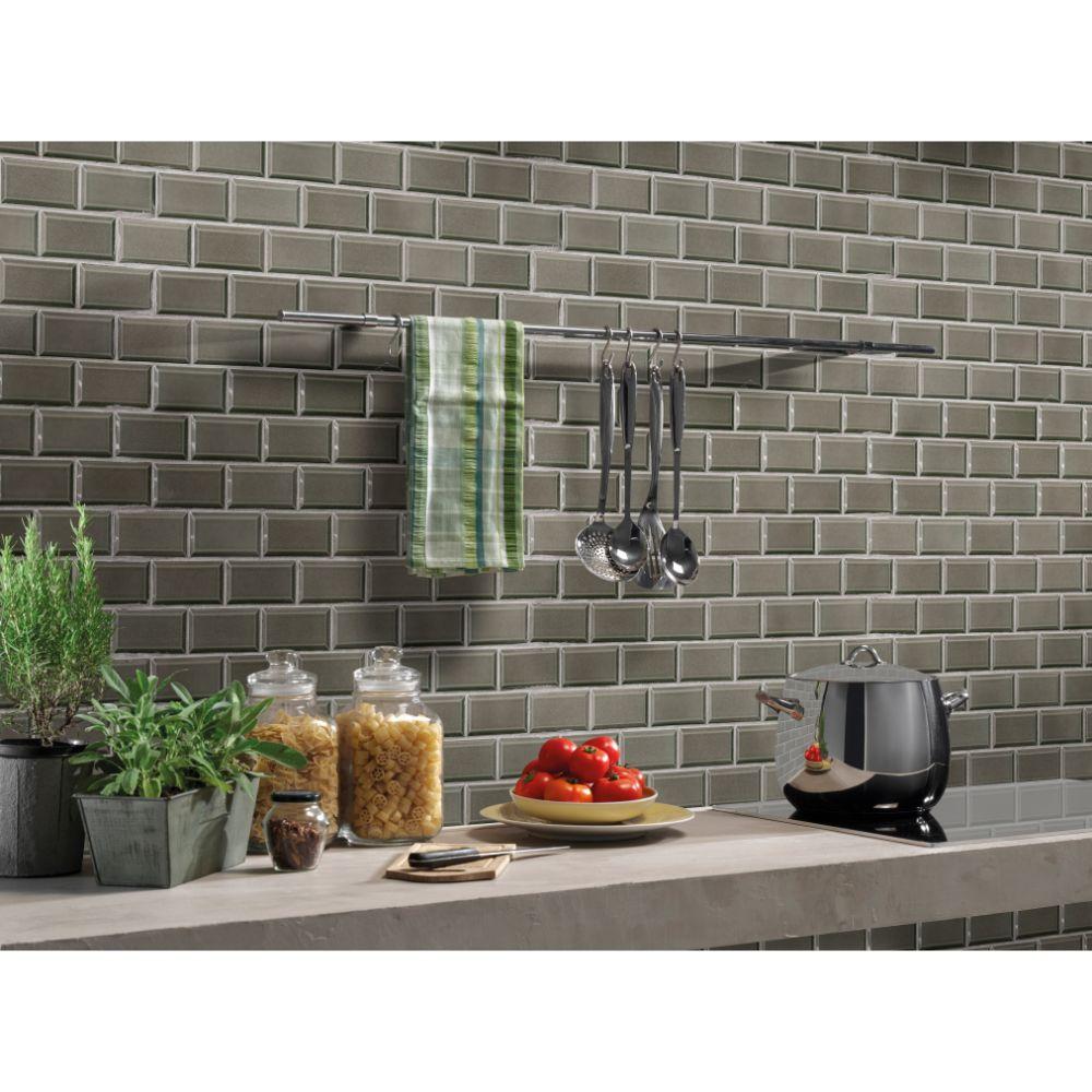 Charcoal 2x4 Bevel Glossy Subway Ceramic Tile