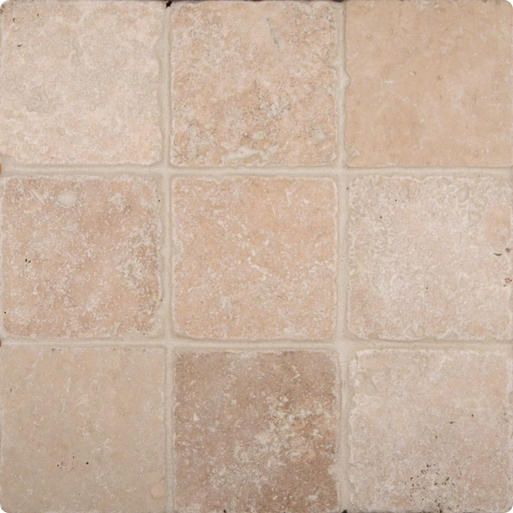 Chiaro 4X4 Tumbled Travertine Floor and Wall Tile