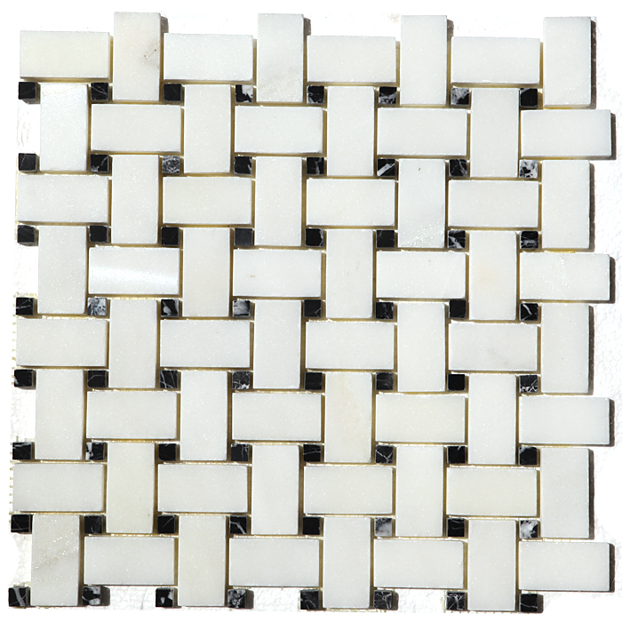 China White With Black Dot Basket Weave Mosaic