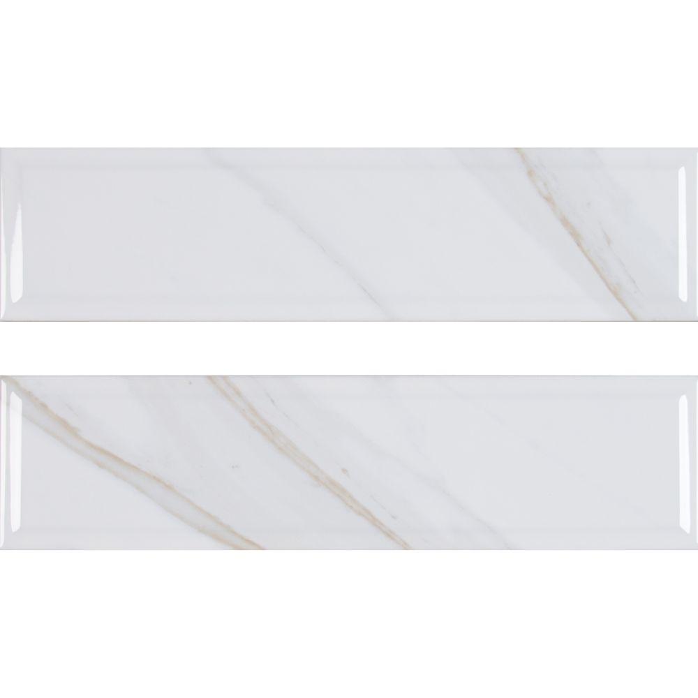 Classique White Calacatta 4X16 Glossy Beveled