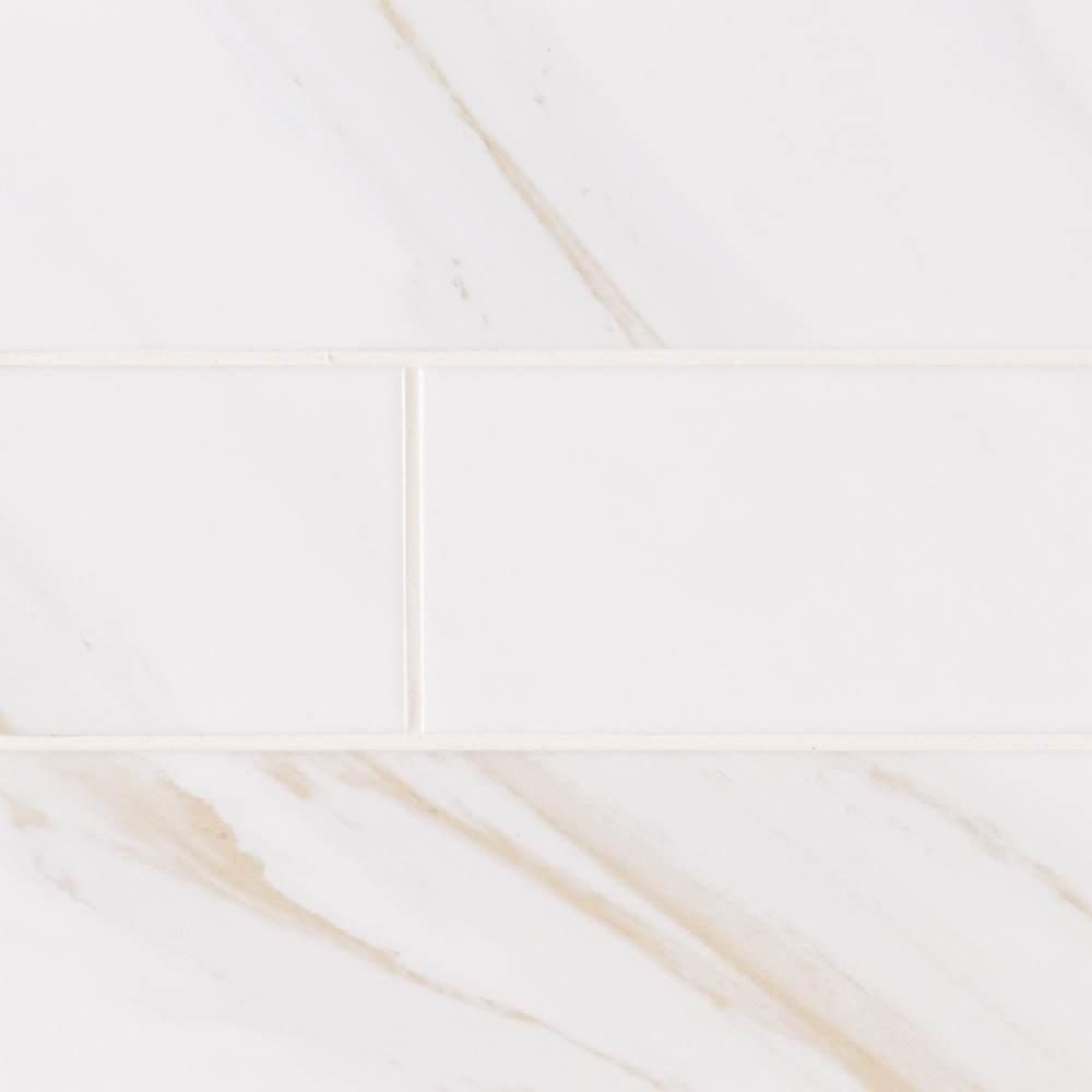 Classique White Calacatta 4X16 Glossy Ceramic Tile