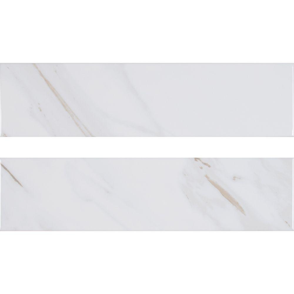 Classique White Calacatta 4X16 Glossy Subway