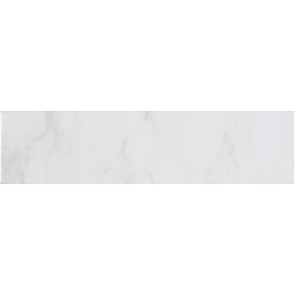Classique White Carara 4X16 Mix Finish Subway Tile