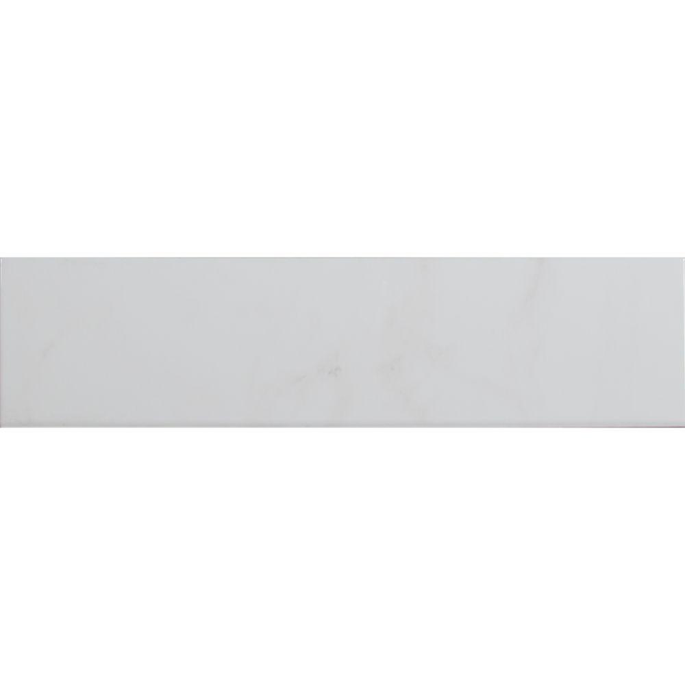 Classique White Carrara 4x16 Glossy Bullnose Tilesbay Com