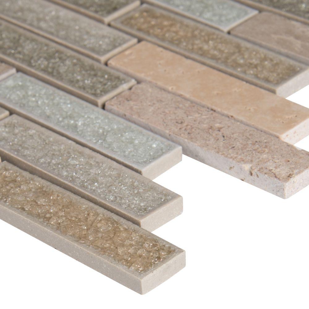 Crystal Vista 1x4 Blend Glass Stone Mosaic