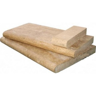 Tuscany Walnut 4X12 Honed Unfilled Brushed One Short Side Bullnose Pool Coping