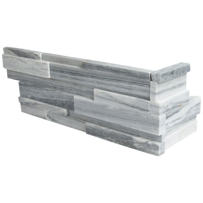 Alaska Gray 6x18x6 3D Honed L Corner Ledger Panel