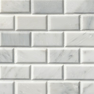 Arabescato Carrara 2X4 Polished Bevel Mosaic