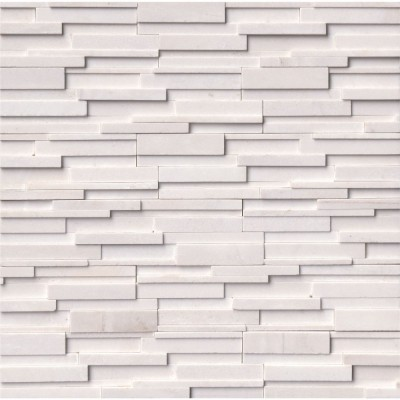 Arctic White 6x24 3D Honed Ledger Panel