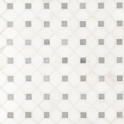 Bianco Dolomite Dotty Polished Backsplash Mosaic