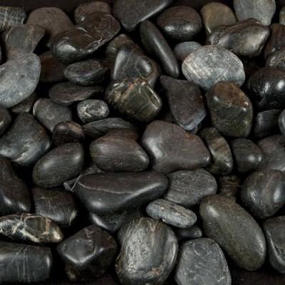 Black Polished 3-5 CM Beach Pebbles
