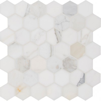 Calacata Gold 2x2 Hexagon Polished