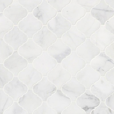 Calacatta Cressa Arabesque Pattern Honed Mosaic