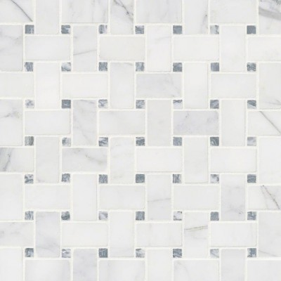 Bianco Dolomite Crema Dotty Polished Backsplash Mosaic