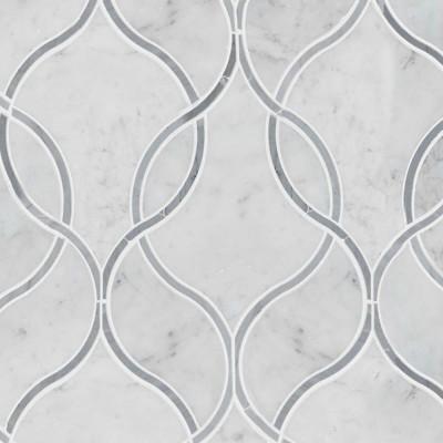 Carrara White Polished Ellipsis Pattern Marble Tile