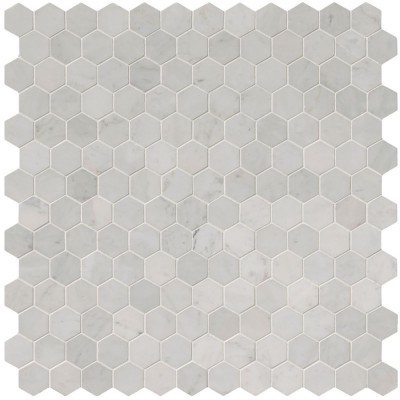 Carrara White 2x2 Hexagon Polished Mosaic