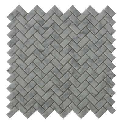 Carrara White Herringbone Mini Brick Pattern Mosaic
