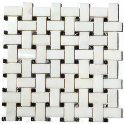 China White With Black Dot Basketweave Mosaic
