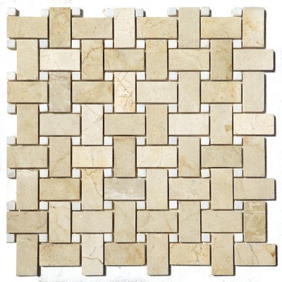Crema Marfil Basket Weave White Marble 12x12 Polished