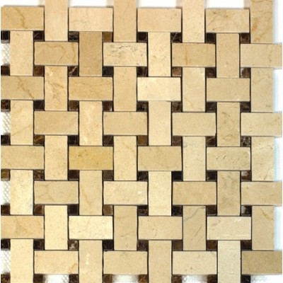 Crema Marfil 12x12 Basketweave Polished