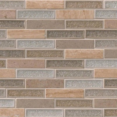 Crystal Vista 1x4 Blend Glass Stone Mosaic